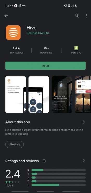 The Hive mobile app on the Google Play store