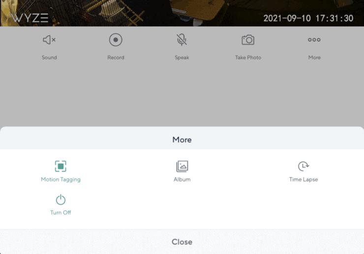 Wyze app More screen