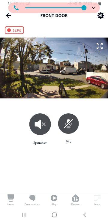 Alexa app Doorbell view