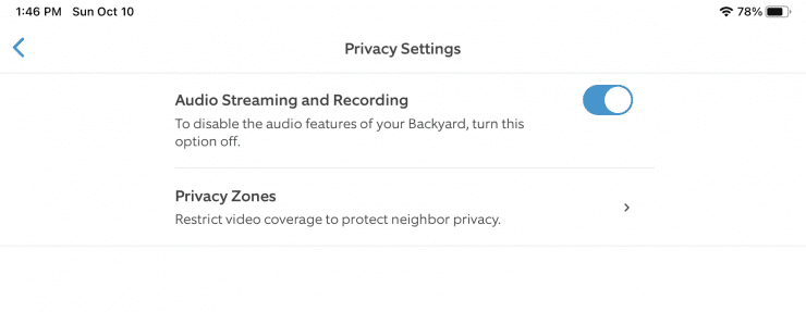 Ring Privacy Audio Disabling Feature