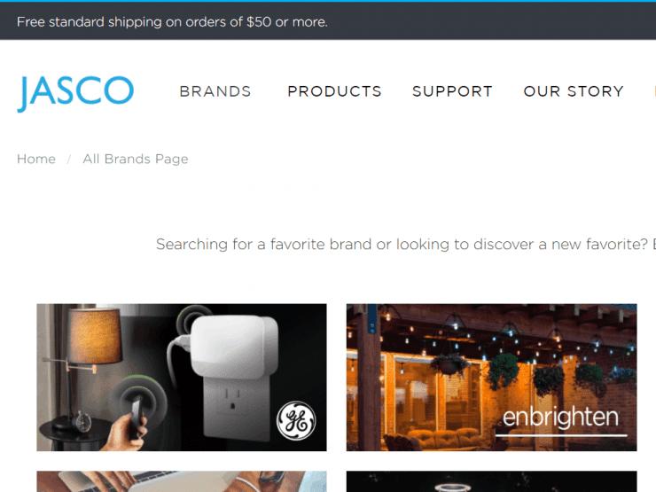 The Jasco website showing their Enbrighten product range
